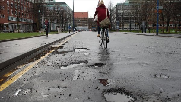 Potholes cause damage to bikes and cyclists
