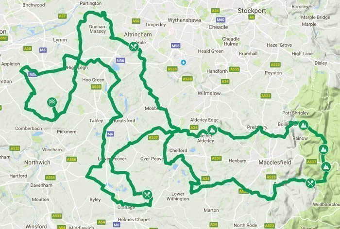 Evans Cycles Cheshire 100 Sportive Route Map