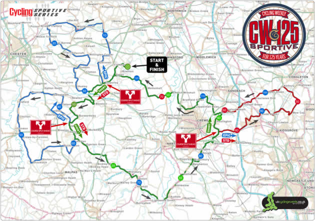 CW125 Cycling Weekly Sportive Map