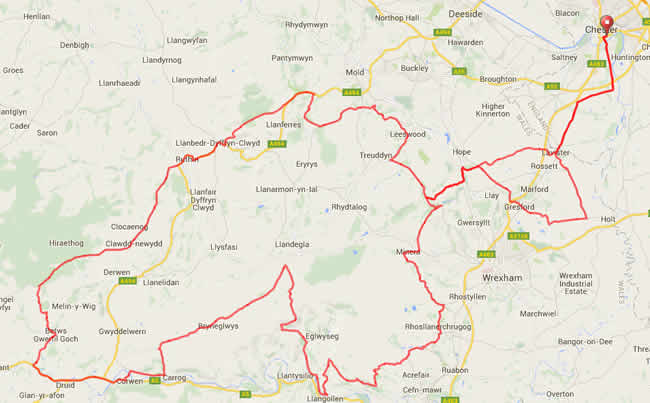 Map of the Rise Above Sportive 100m Route