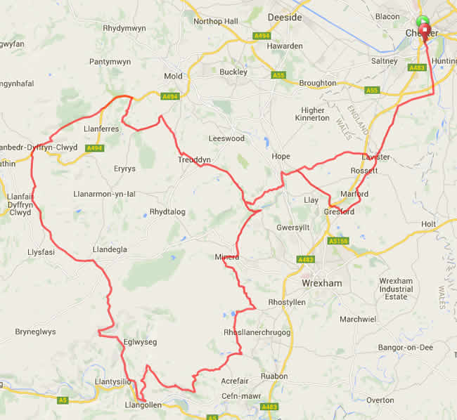 Map of the Rise Above Sportive 75m Route