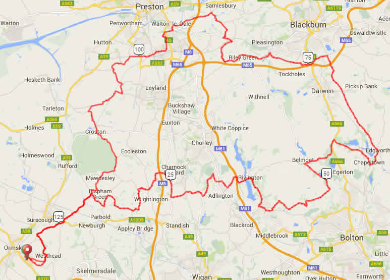 Map of Roman Road Sportive Route