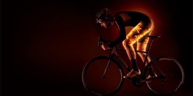 Cyclist with leg cramps