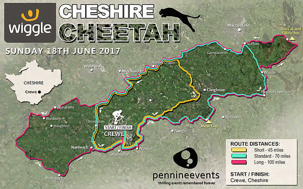 Wiggle Cheshire Cheetah Route Map